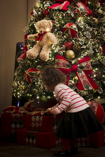 Little Girl and Her Christmas Tree