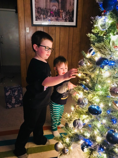 Boys Decorating Our New Tree