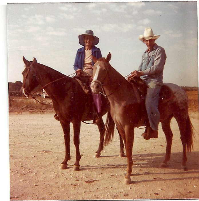 grandma and grandpa riding horses
