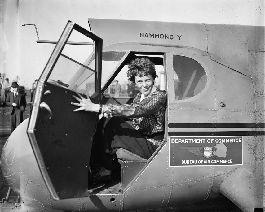 Amelia Earhart In Plane